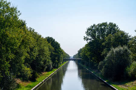 View on Beatrix canal near Eindhoven in sunny day, waterways of North Brabant, Netherlands 免版税图像