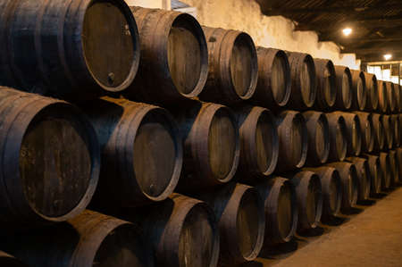 Old porto lodge with rows of oak wooden casks for slow aging of fortified ruby or tawny porto wine in Vila Nova de Gaia, north of Portugal