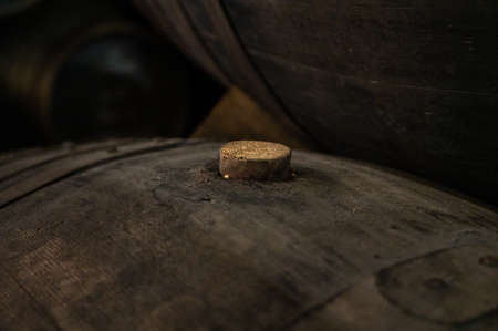 Cork close up, old porto lodge with rows of oak wooden casks for slow aging of fortified ruby or tawny porto wine in Vila Nova de Gaia, north of Portugal