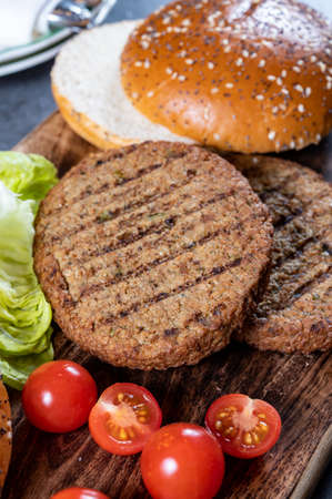 Making tasty vegetarian burgers from plant based grilled burgers, fresh bakes buns and organic vegetables close up Reklamní fotografie