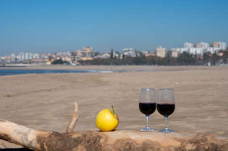 Tasting of different wines in glass on sandy beach with view on waves of Atlantic ocean near Vila Nova de Gaia and city of Porto, Portugal
