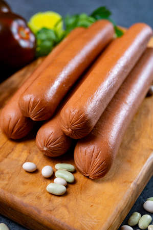 asty vegan sausages made from vegetarian plant based soya beans imitation meat ready to cook