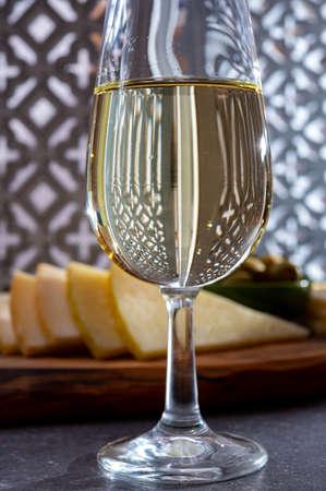 Tasting of fortified Andalusian fino sherry wine with traditional Spanisch tapas, green olives, goat and sheep manchego cheese Reklamní fotografie