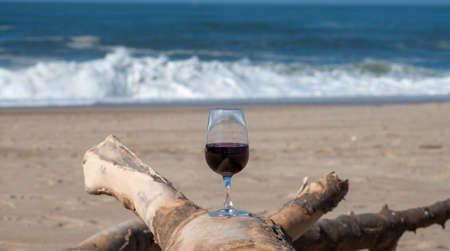 Tasting of different fortified dessert ruby, tawny port wines in glass on sandy beach with view on waves of Atlantic ocean near Vila Nova de Gaia and city of Porto, Portugal 版權商用圖片