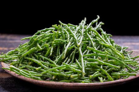 Tasty vegetarian sea food, fresh raw green salicornia or glasswort, pickleweed close up