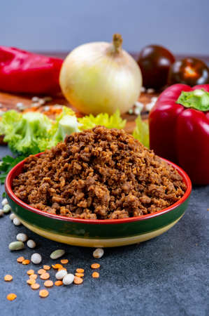 Vegetarian plant based imitation minced soya beans meat ready to eat