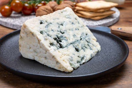 Cheese collection, French blue cheese roquefort from caves of Roquefort-sur-Soulzon, France, close up