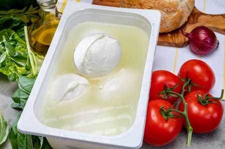 Cheese shop, fresh handmade soft Italian cheese from Campania, white balls of buffalo mozzarella cheese made from cow milk in container with water close up