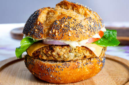 Tasty vegetarian fast or street food, homemade burgers made from orange lentils legumes with onion, green lettuce and tomatoes Reklamní fotografie