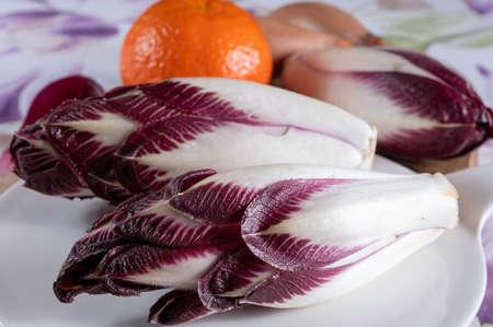 Healthy food, fresh Belgian endive red chicory lof lettuce close up Banque d'images