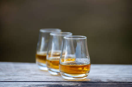 Tasting glasses of finest scotch whiskey strong drink on old outdoor wooden table