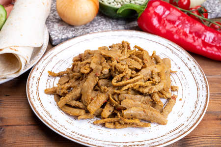 Vegetarian spicy Shawarma meat imitation made from grains, soybeans, vegetables and legumes Reklamní fotografie
