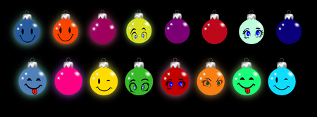 Christmas decorations with smileys and eyes Illustration