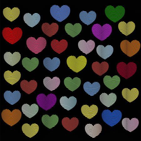 バレンタインデーにラスター効果を持つハート  イラスト・ベクター素材