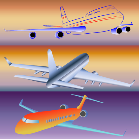 Models of passenger aircraft in vector images.
