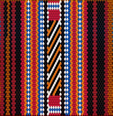 Pattern on Bedouin fabric Sadu. Colorful, bright, eye-catching, holding a look, inspiring. Stock Photo