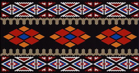 The traditional ornament of the inhabitants of the East, the Arab world, in which rich colors attract good luck and wealth. Women wove carpets for with ornaments, embroidered on fabrics for dresses. Embroidery patterns. Vettoriali