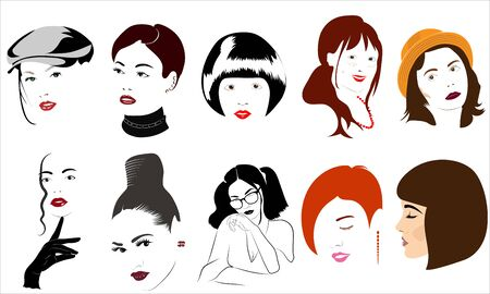 Faces of girls in the style of minimalism with the ability to produce stencils.