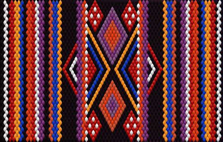 A traditional ornament of peoples and countries of Latin America in which rich colors attract attention and wealth. Women's woven carpets with ornament embroidered on fabrics for dresses. Embroideries