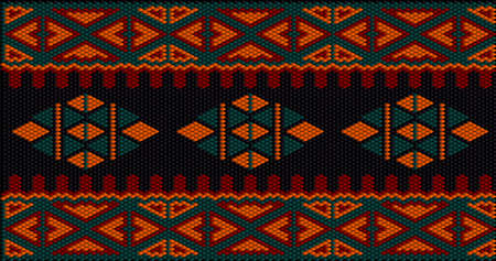 Women's woven carpets with ornament embroidered on fabrics for dresses. Embroideries pattern.