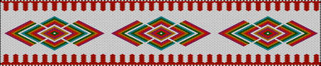 A traditional, ethnic ornament in which rich colors attract luck and wealth. The ornament looks great in the interior, in embroidery on fabrics for various applications. Women's woven carpets with ornament embroidered on fabrics for dresses. Embroidery patterns. Ilustração