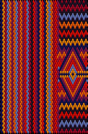 A traditional ornament of the peoples and countries of Asia, in which saturated colors attract luck and wealth. Women's woven carpets with ornament embroidered on fabrics for dresses. Embroidery patterns. Vektorgrafik
