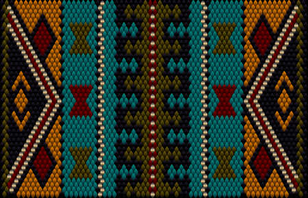 A traditional ornament of peoples and countries of Latin America in which rich colors attract attention and wealth. Women's woven carpets with ornament embroidered on fabrics for dresses.
