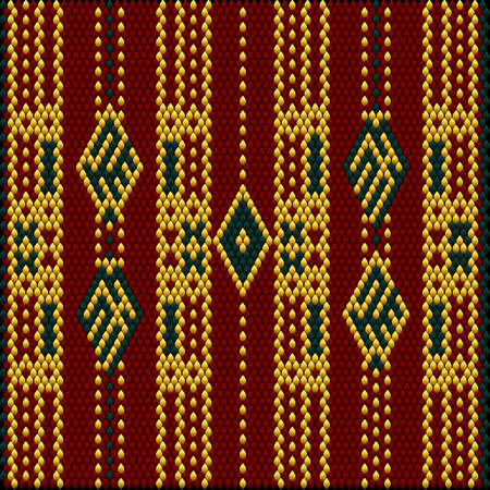 A traditional ornament of the peoples and countries of Asia, in which saturated colors attract luck and wealth. Women's woven carpets with ornament embroidered on fabrics for dresses. Embroidery patterns. Векторная Иллюстрация
