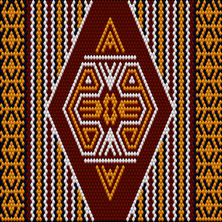 A traditional ornament of peoples and countries of Latin America in which rich colors attract attention and wealth. Women's woven carpets with ornament embroidered on fabrics for dresses. Embroideries Векторная Иллюстрация