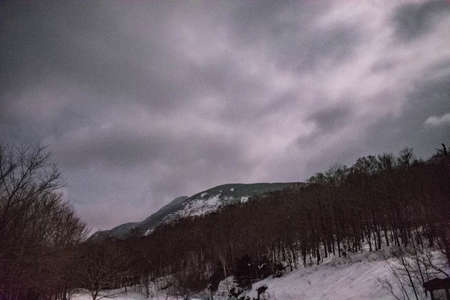 Franconia Notch on a Cloudy Night Banco de Imagens