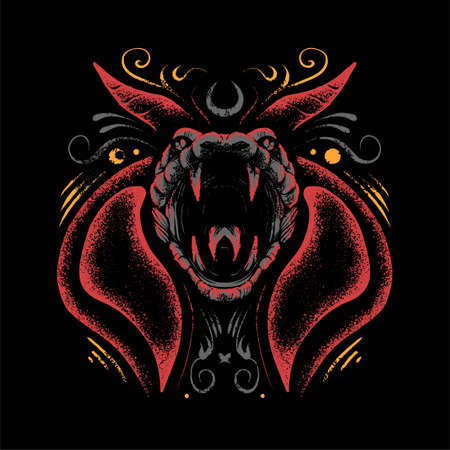 premium vector satanic cobra illustration, in a modern cartoon style, perfect for t-shirts or print products