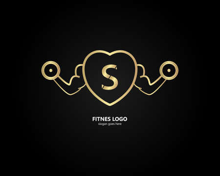 the letter S logo and the gym logo. the combination of the letter S and the hand holding barbell design. gold texture. Modern template. unique, simple and luxurious.for cards and graphic design.vector Logo