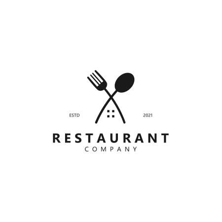 restaurant inspiration. cutlery house design with a retro concept. abstract black texture. designs for companies, food, and trademarks. vintage templates