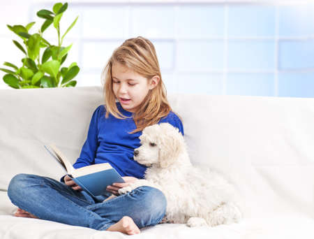 dog school: A girl reading a book little puppies