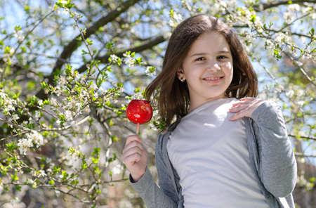 taffy: Beautiful  girl with caramel apple