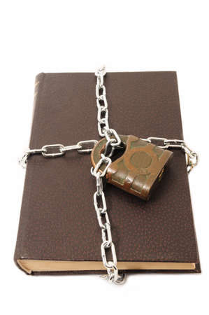Confidential old book locked padlock photo