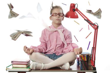fair complexion: Beautiful girl meditating on the desk