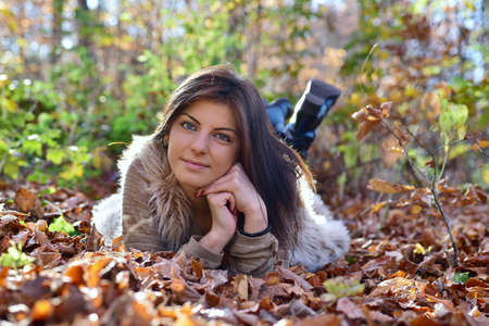 thanksgiving adult: woman portret in the nature Stock Photo