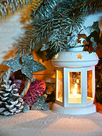 stock photo vintage christmas decor old christmas decorations lanterns garlands and spruce branches on a white table - Old Christmas Decorations