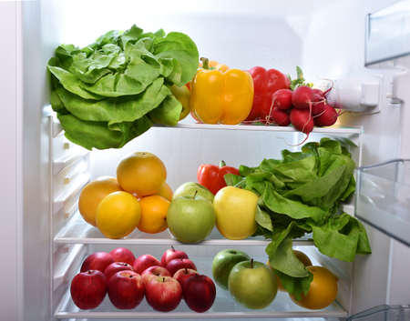 fresh vegetable: Fresh fruits and vegetables in the fridge