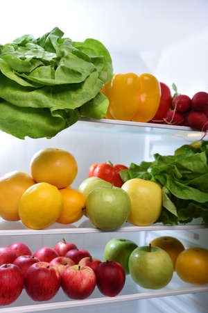 fridge: Fresh fruits and vegetables in the fridge