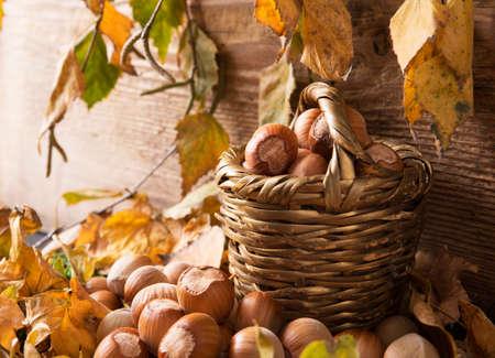 Bowl of hazelnuts on autumn leaves