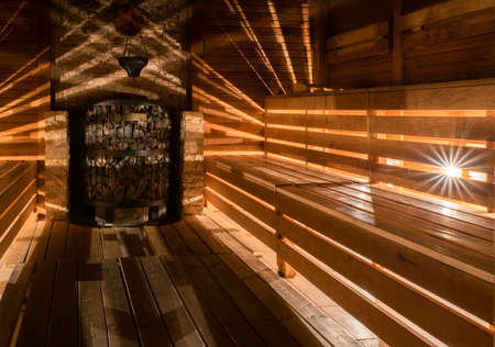 finnish bath: The interior of the Traditional wooden sauna Stock Photo