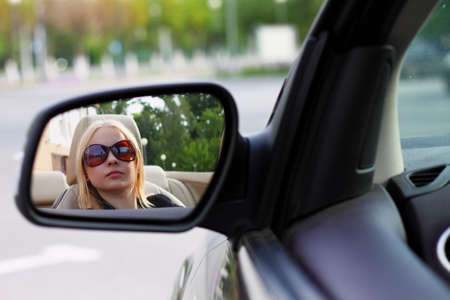 younglady: Pretty Woman Driving Her Convertible Sports Car With Her Sunglasses  Stock Photo