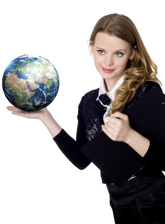woman holding globe in her hand on white  photo