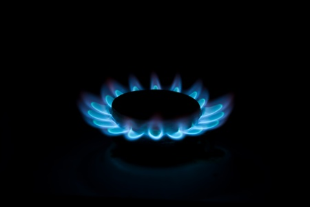 Burning gas in a circle on isolated on black. Stock Photo