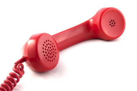 Previous isolated red handset. Stock Photo