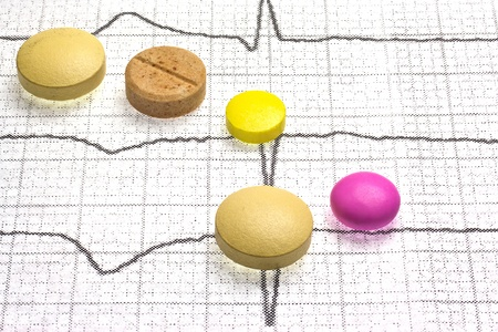 Different pills are on the cardiogram of the heart  Stock Photo