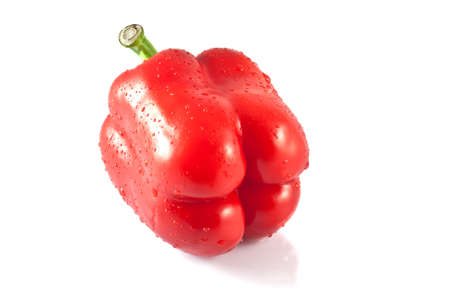 A juicy, raw red peppers on a white background  Stock Photo