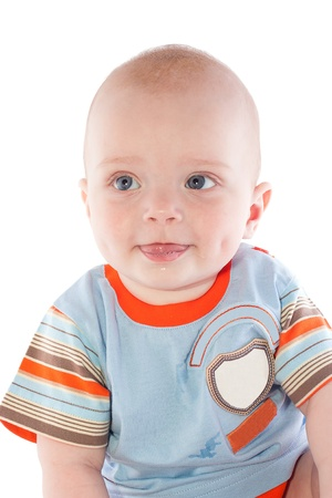 A small child on a white background